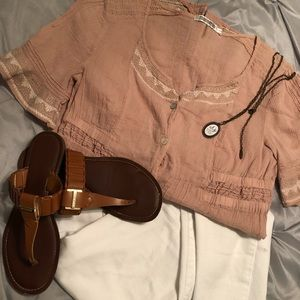 Mauve Tunic with embroidered sleeve/hem details